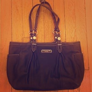 Authentic Coach black leather shoulder bag